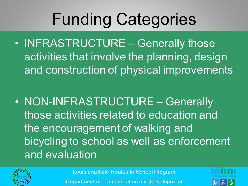 Louisiana Safe Routes to School Program Department of Transportation and Development Funding Categories INFRASTRUCTURE – Generally those activities th