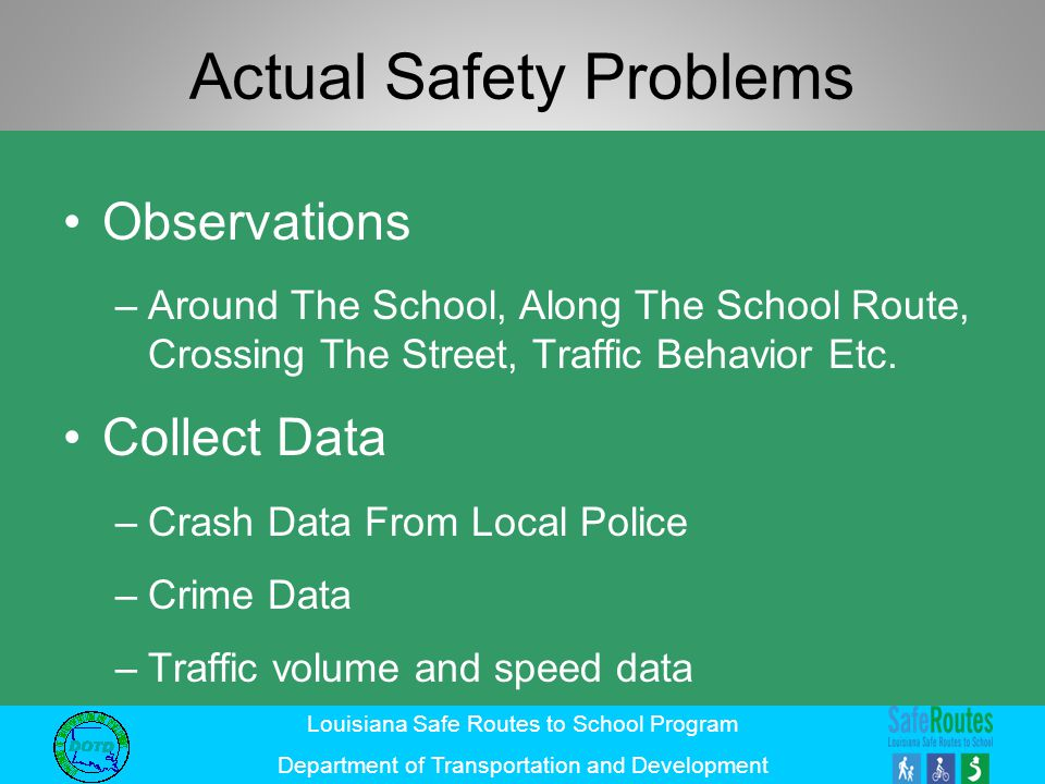 Louisiana Safe Routes to School Program Department of Transportation and Development Actual Safety Problems Observations –Around The School, Along The