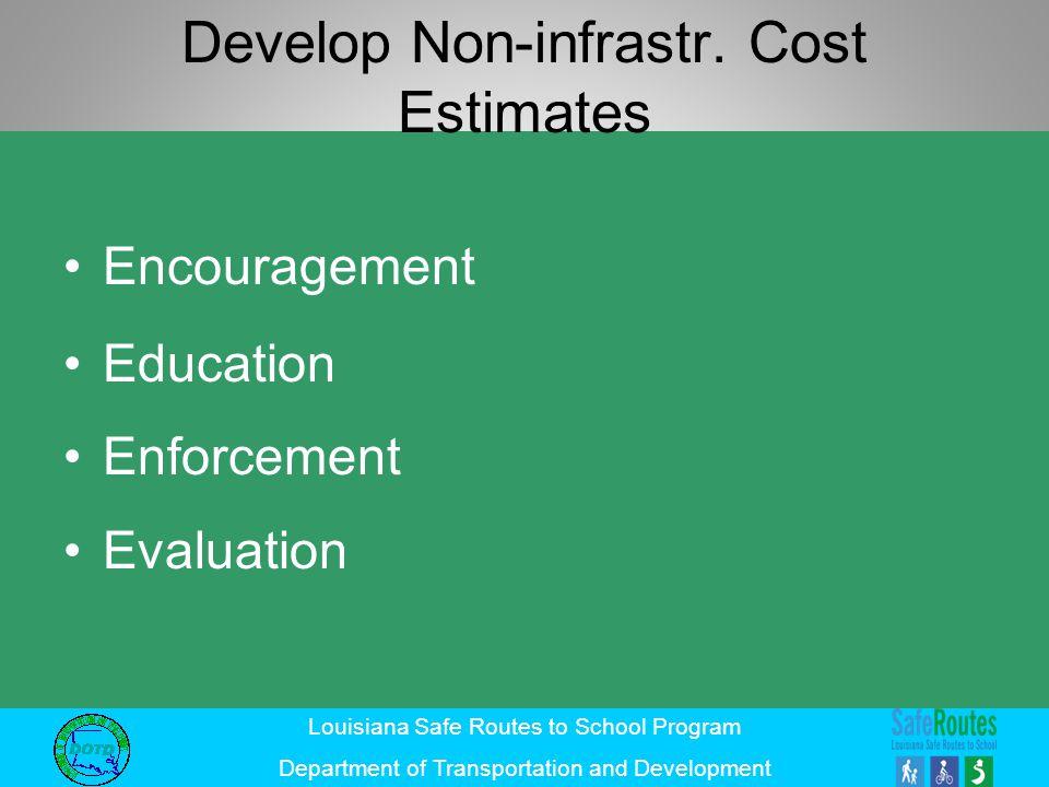 Louisiana Safe Routes to School Program Department of Transportation and Development Develop Non-infrastr.