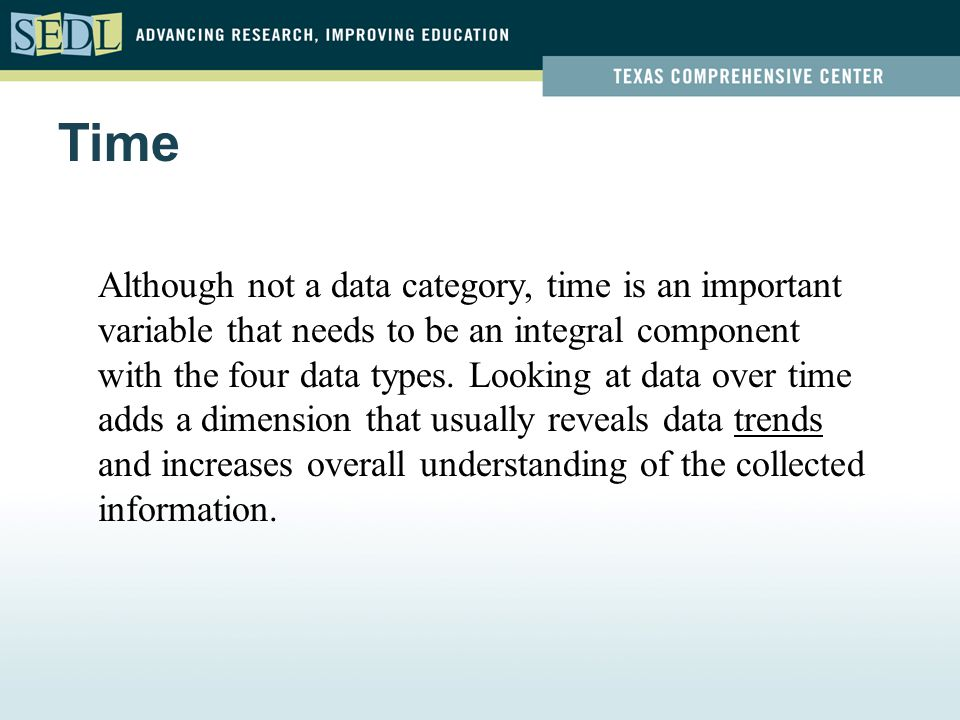 Although not a data category, time is an important variable that needs to be an integral component with the four data types. Looking at data over time