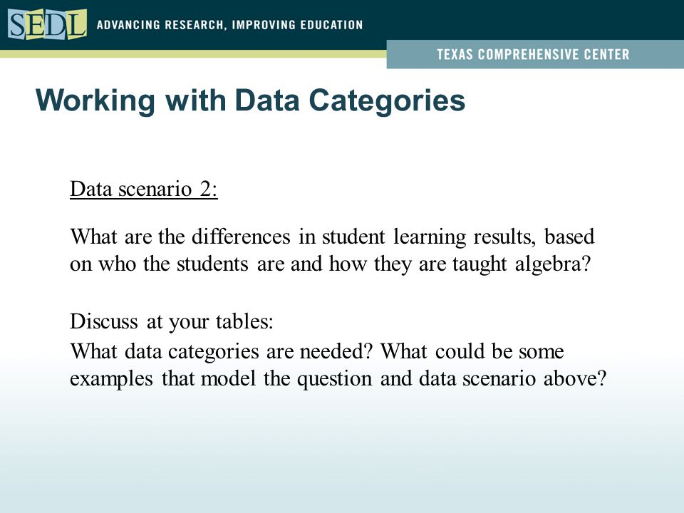 Data scenario 2: What are the differences in student learning results, based on who the students are and how they are taught algebra? Discuss at your