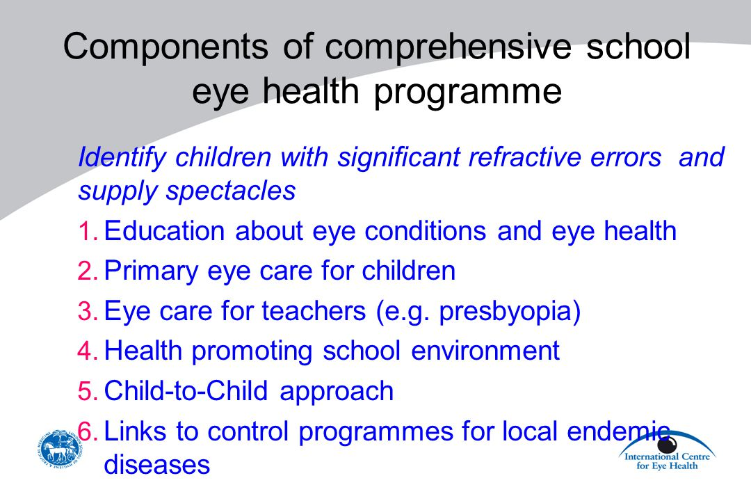 Components of comprehensive school eye health programme Identify children with significant refractive errors and supply spectacles 1. Education about