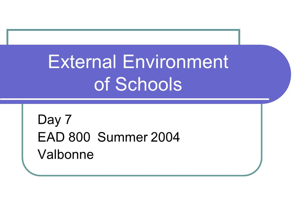 External Environment of Schools Day 7 EAD 800 Summer 2004 Valbonne