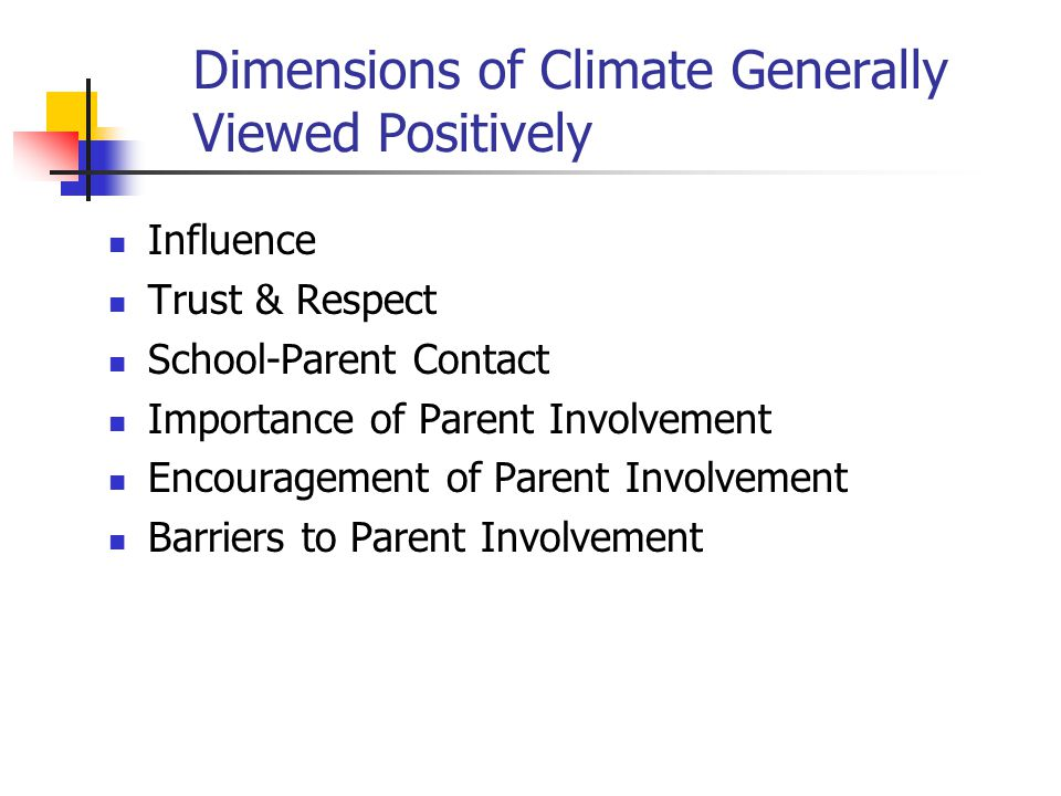 Dimensions of Climate Generally Viewed Positively Influence Trust & Respect School-Parent Contact Importance of Parent Involvement Encouragement of Parent Involvement Barriers to Parent Involvement