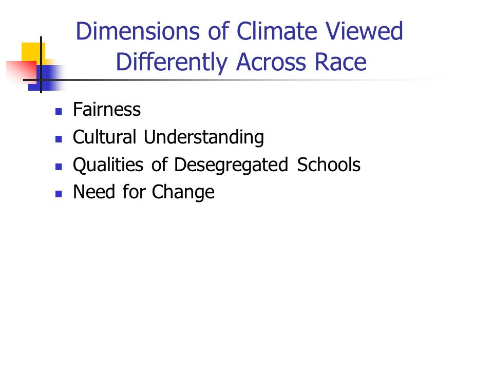 Dimensions of Climate Viewed Differently Across Race Fairness Cultural Understanding Qualities of Desegregated Schools Need for Change
