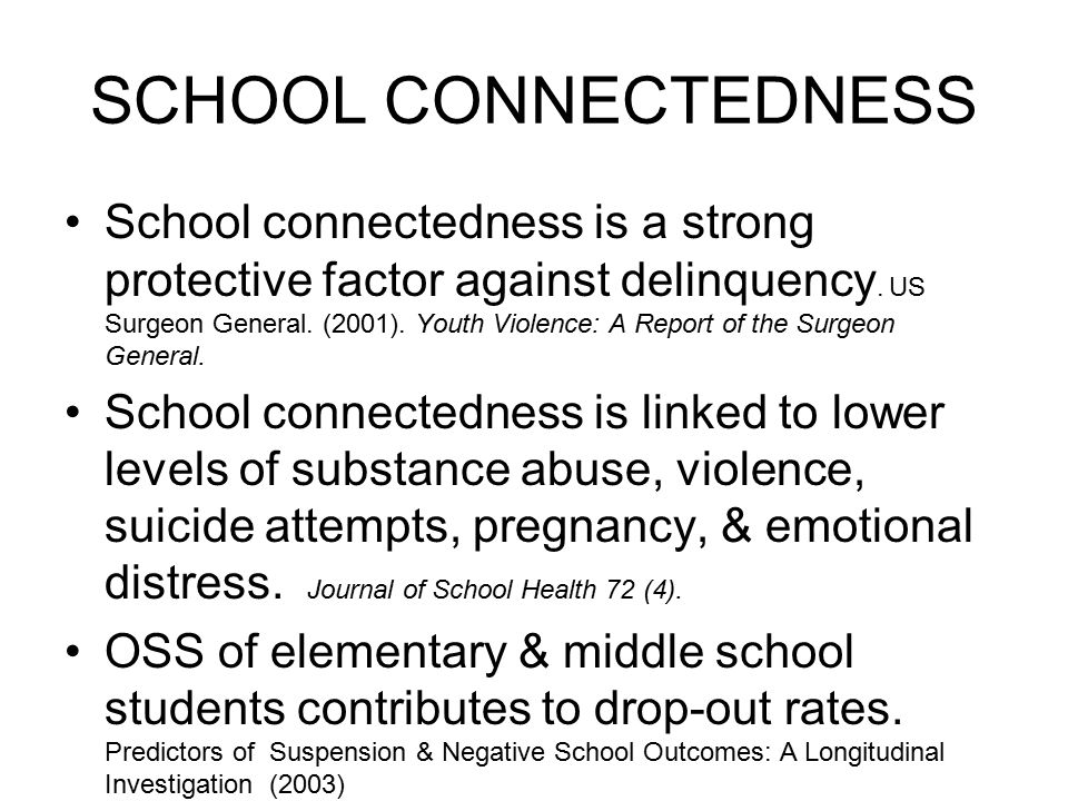 SCHOOL CONNECTEDNESS School connectedness is a strong protective factor against delinquency.