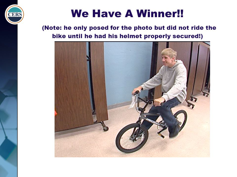 We Have A Winner!! (Note: he only posed for the photo but did not ride the bike until he had his helmet properly secured!)