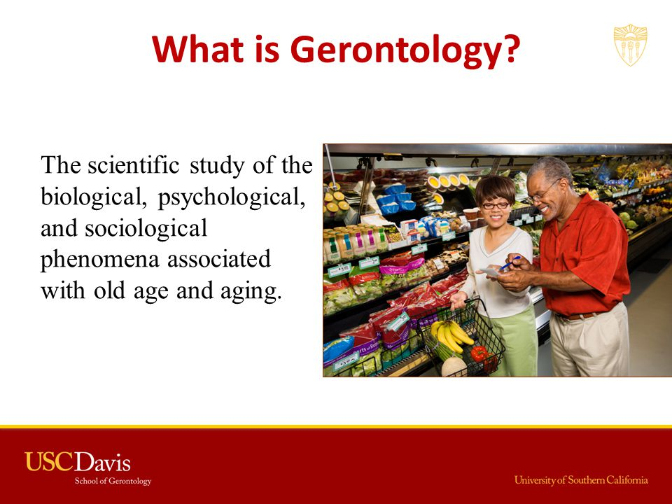 What is Gerontology? The scientific study of the biological, psychological, and sociological phenomena associated with old age and aging.