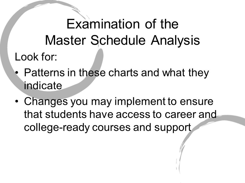 Examination of the Master Schedule Analysis Look for: Patterns in these charts and what they indicate Changes you may implement to ensure that students have access to career and college-ready courses and support