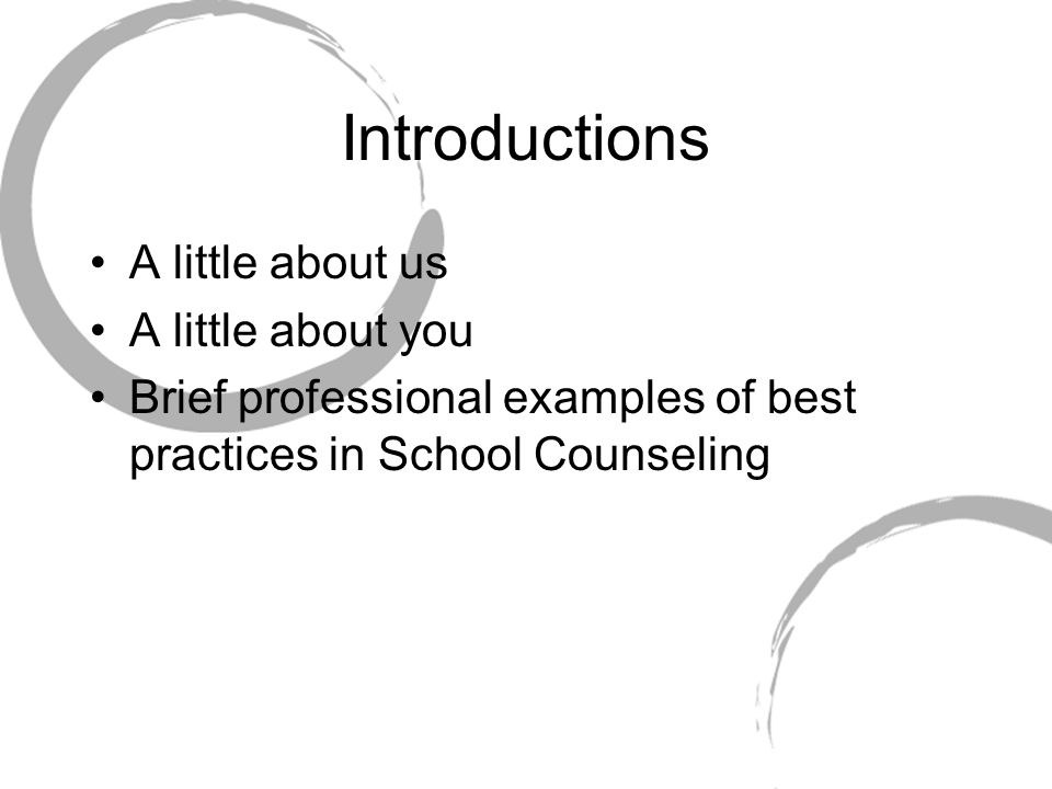 Evidenced-Based Practice Identifying researched-based practices and interventions Developing ways to measure and evaluate student outcomes Evaluating interventions Presenting quantitative outcome results to a wide variety of constituencies Conducting effective program evaluation References: American School Counselor Association.