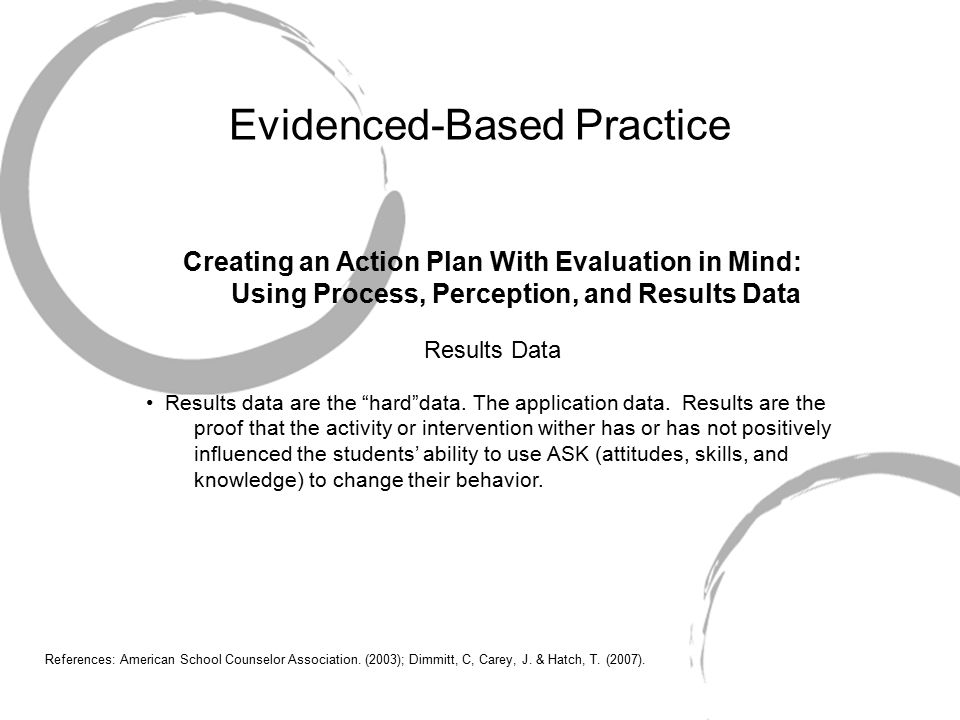 Evidenced-Based Practice Creating an Action Plan With Evaluation in Mind: Using Process, Perception, and Results Data Results Data Results data are the hard data.