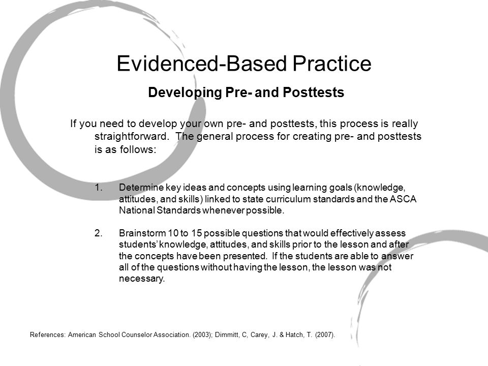 Evidenced-Based Practice Developing Pre- and Posttests If you need to develop your own pre- and posttests, this process is really straightforward.