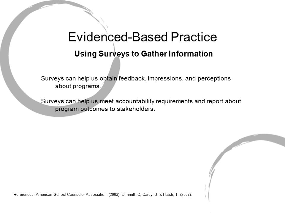 Evidenced-Based Practice Using Surveys to Gather Information Surveys can help us obtain feedback, impressions, and perceptions about programs.