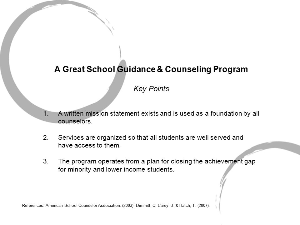 A Great School Guidance & Counseling Program Key Points 1.A written mission statement exists and is used as a foundation by all counselors.