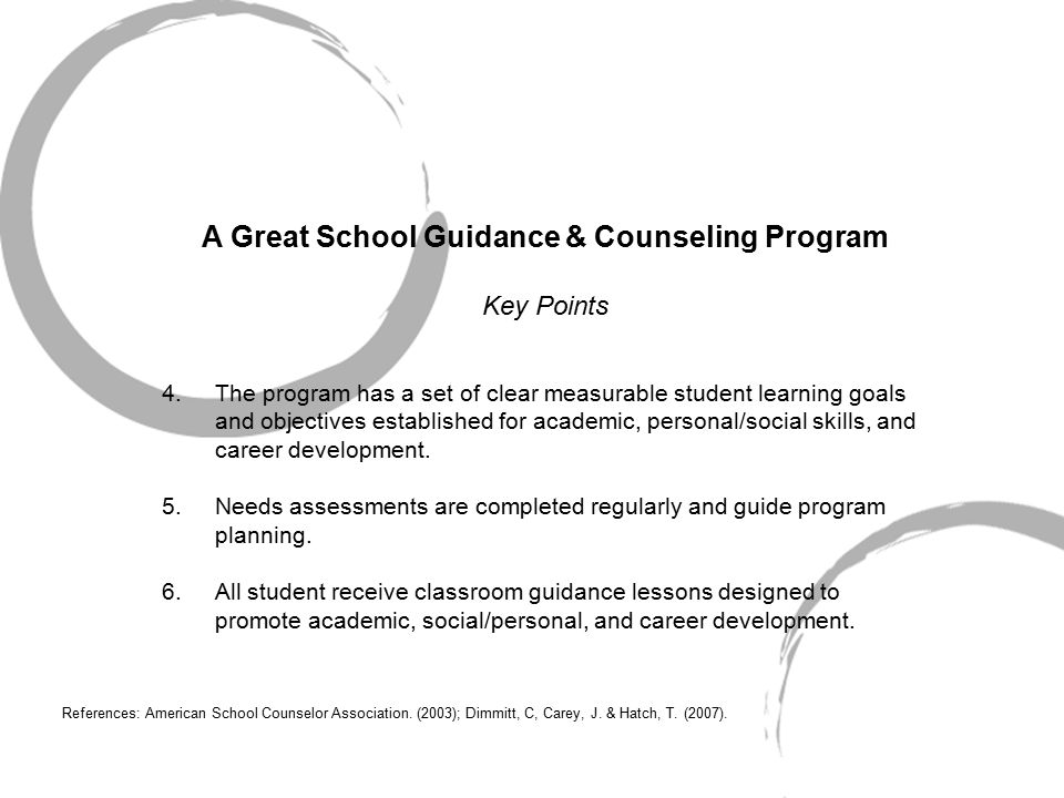 A Great School Guidance & Counseling Program Key Points 4.The program has a set of clear measurable student learning goals and objectives established for academic, personal/social skills, and career development.