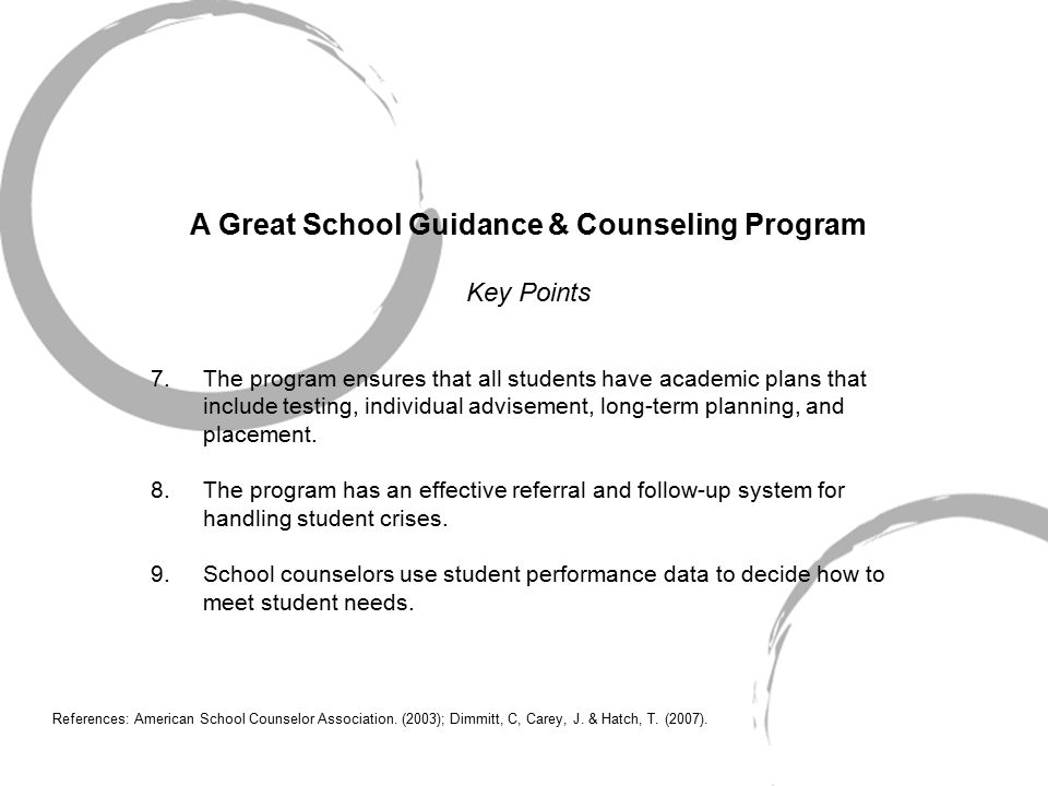 A Great School Guidance & Counseling Program Key Points 7.The program ensures that all students have academic plans that include testing, individual advisement, long-term planning, and placement.