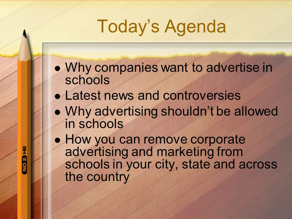 Other Forms of Advertising in Schools Sponsored educational materials School book covers Wall posters Ads on buses Billboards Scoreboard ads Other signage Vending machines ads Ads on in-school fast food storefronts Incentive programs (i.e.