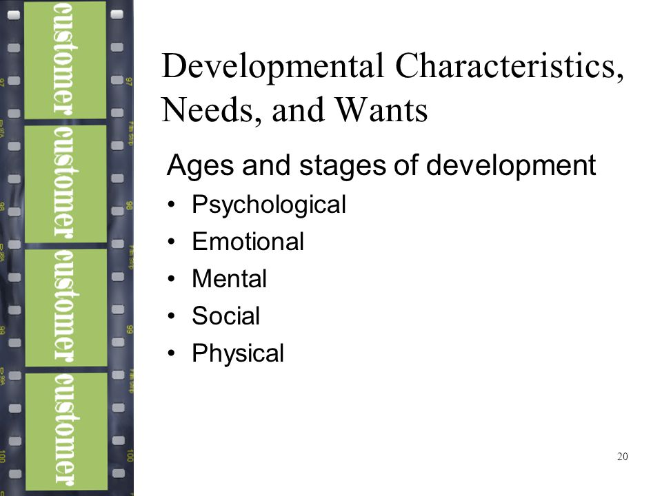 20 Developmental Characteristics, Needs, and Wants Ages and stages of development Psychological Emotional Mental Social Physical