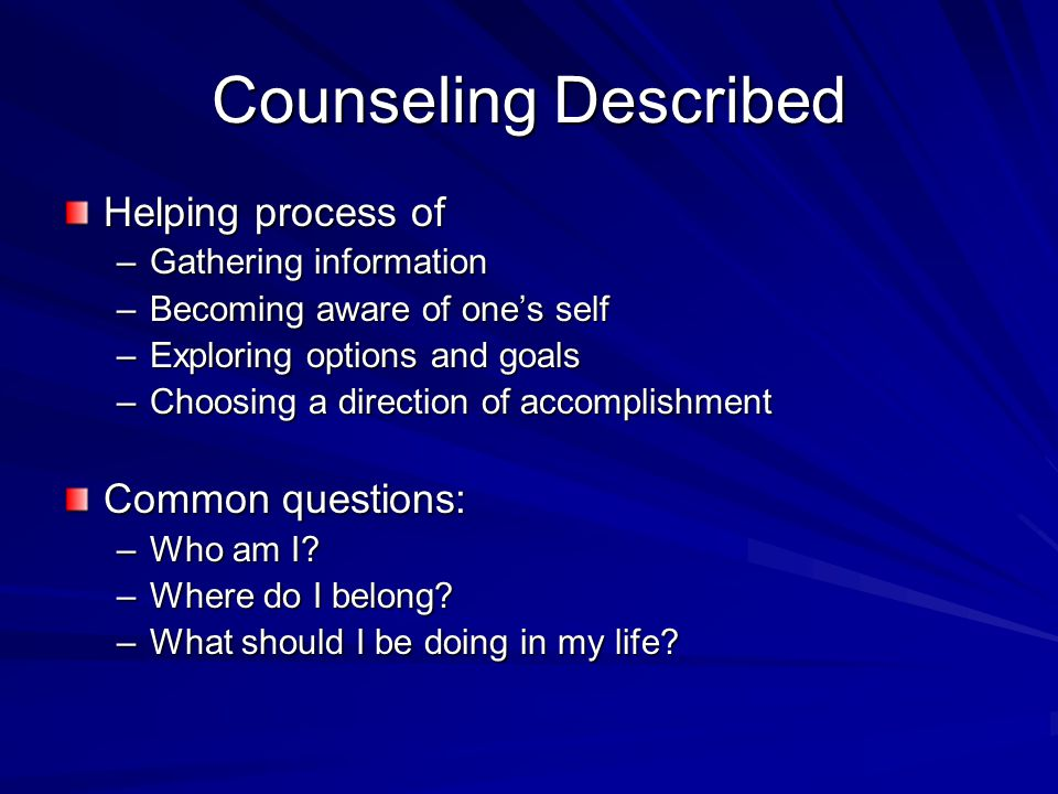 Concepts Continuation One factor contributing to the school counseling professions difficulty in establishing a clear identify is the inconsistent use of terms to identify who school counselors are and what they do.,