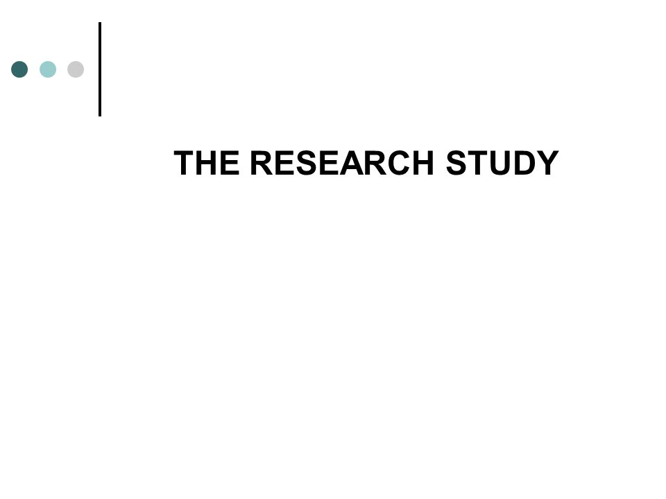 THE RESEARCH STUDY