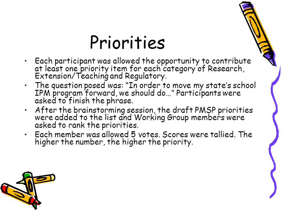 Priorities Each participant was allowed the opportunity to contribute at least one priority item for each category of Research, Extension/Teaching and Regulatory.