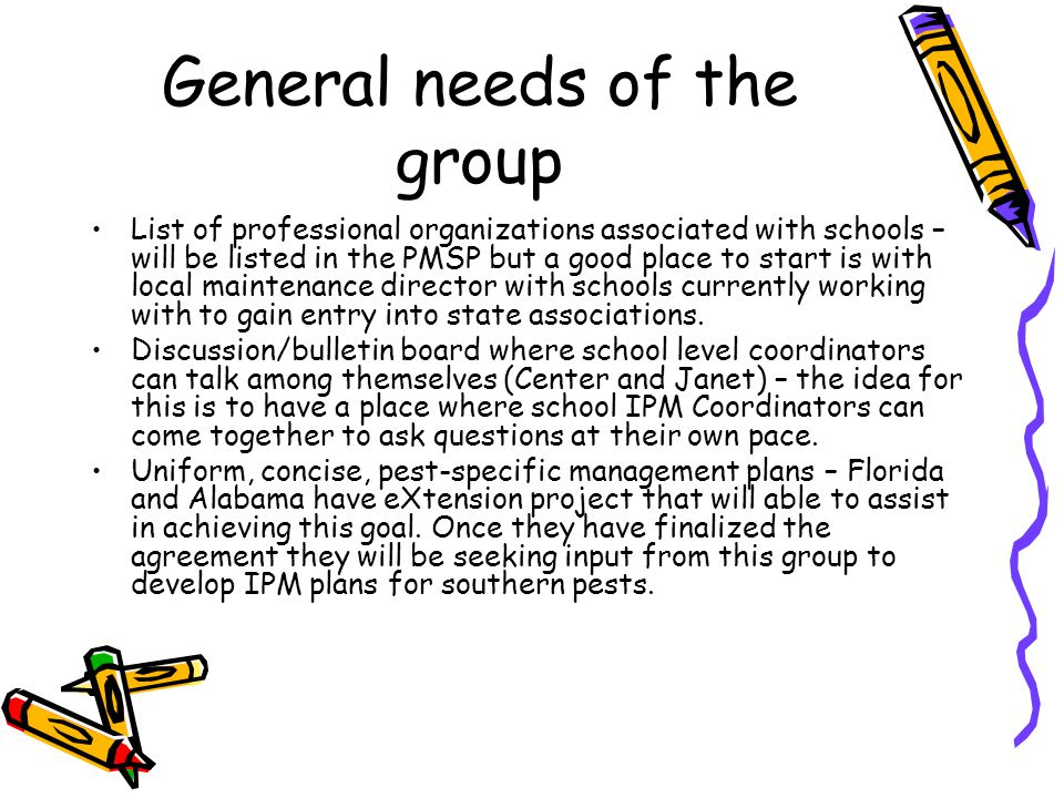 General needs of the group List of professional organizations associated with schools – will be listed in the PMSP but a good place to start is with local maintenance director with schools currently working with to gain entry into state associations.