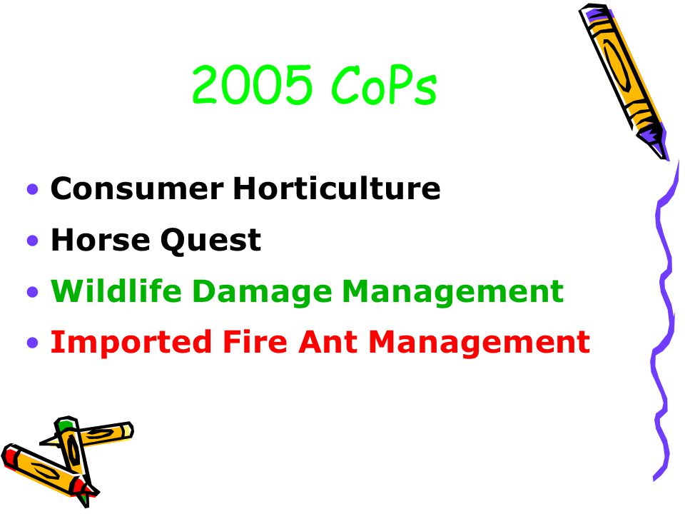 2005 CoPs Consumer Horticulture Horse Quest Wildlife Damage Management Imported Fire Ant Management