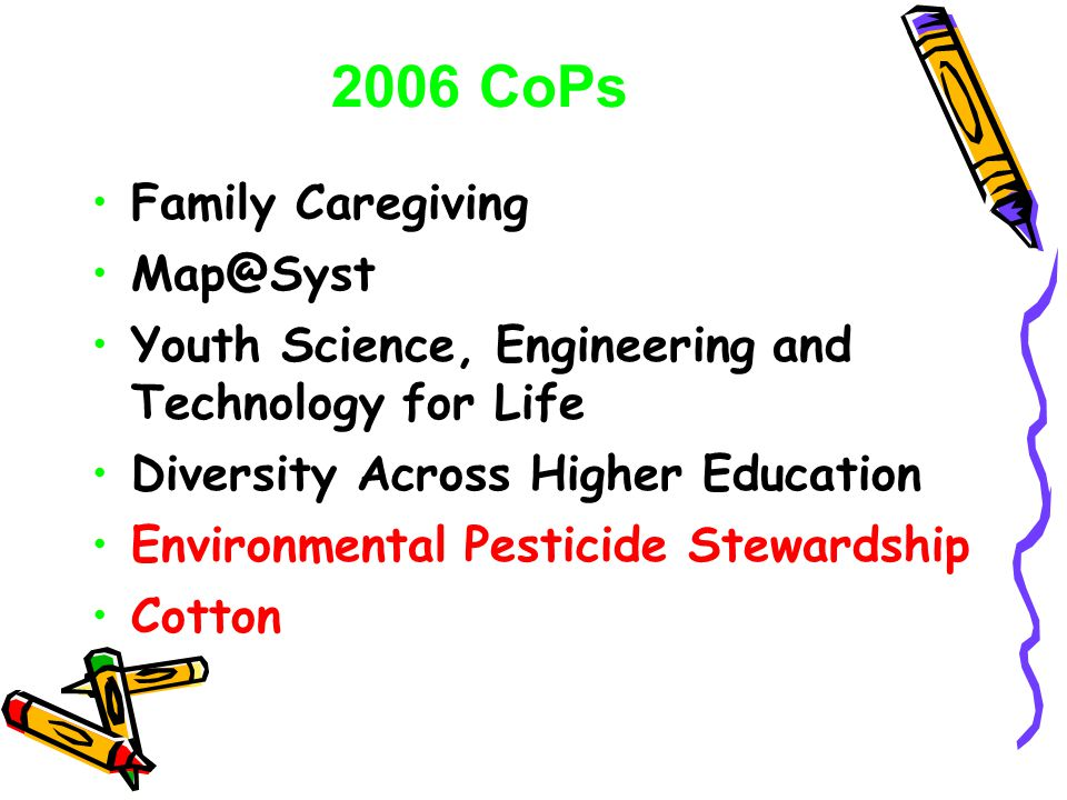 Family Caregiving Map@Syst Youth Science, Engineering and Technology for Life Diversity Across Higher Education Environmental Pesticide Stewardship Cotton 2006 CoPs