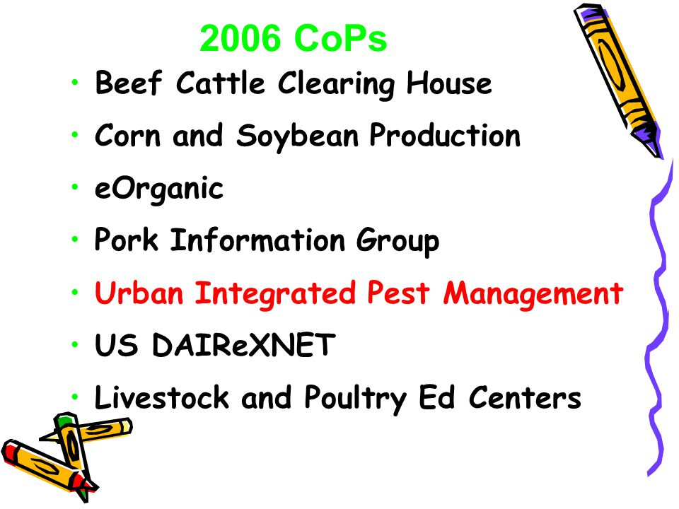 Beef Cattle Clearing House Corn and Soybean Production eOrganic Pork Information Group Urban Integrated Pest Management US DAIReXNET Livestock and Poultry Ed Centers 2006 CoPs
