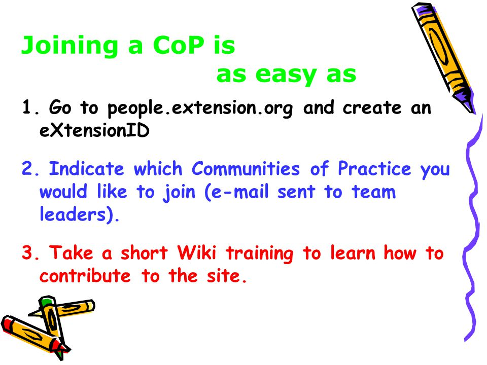 1. Go to people.extension.org and create an eXtensionID.