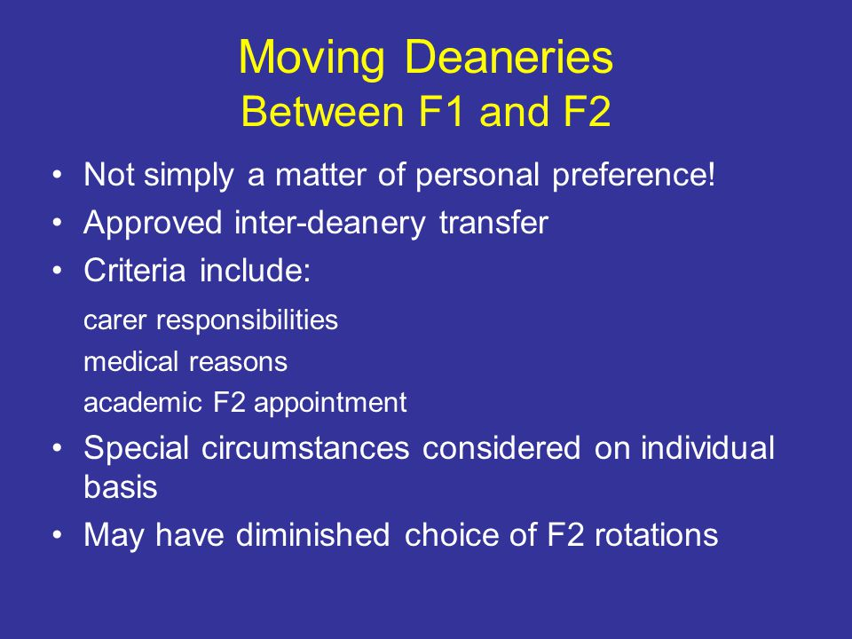 Moving Deaneries Between F1 and F2 Not simply a matter of personal preference.