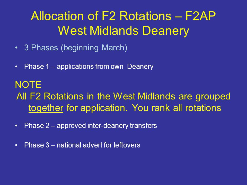 Allocation of F2 Rotations – F2AP West Midlands Deanery 3 Phases (beginning March) Phase 1 – applications from own Deanery NOTE All F2 Rotations in the West Midlands are grouped together for application.