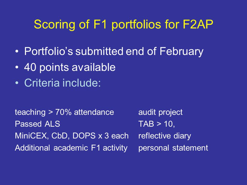 Scoring of F1 portfolios for F2AP Portfolio's submitted end of February 40 points available Criteria include: teaching > 70% attendanceaudit project P