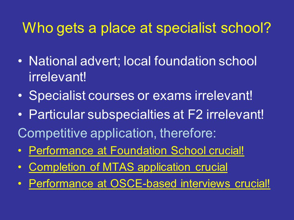 Who gets a place at specialist school. National advert; local foundation school irrelevant.