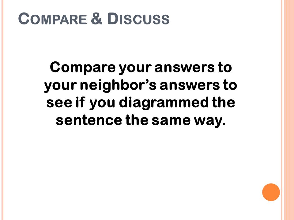 C OMPARE & D ISCUSS Compare your answers to your neighbor's answers to see if you diagrammed the sentence the same way.