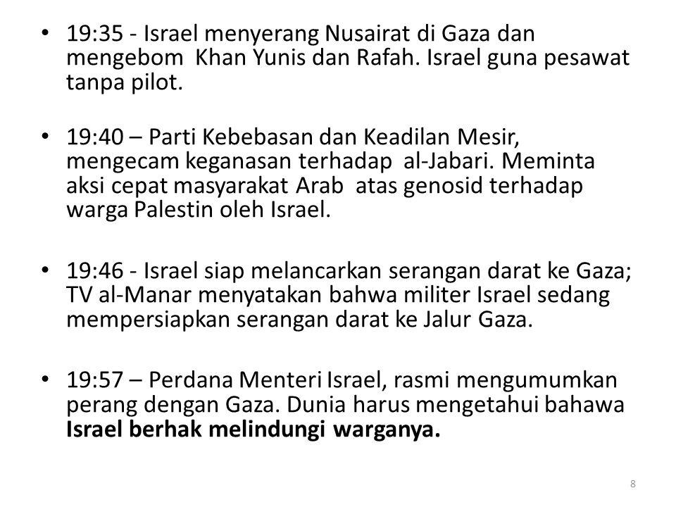 20:12 – Militer Israel pesawat-pesawat tanpa pilot di atas udara Gaza untuk menakutkan warga Gaza.