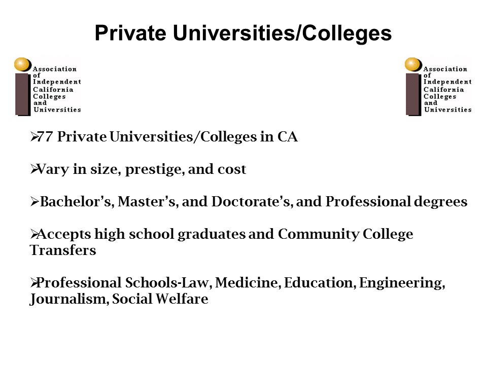  77 Private Universities/Colleges in CA  Vary in size, prestige, and cost  Bachelor's, Master's, and Doctorate's, and Professional degrees  Accepts high school graduates and Community College Transfers  Professional Schools-Law, Medicine, Education, Engineering, Journalism, Social Welfare Private Universities/Colleges