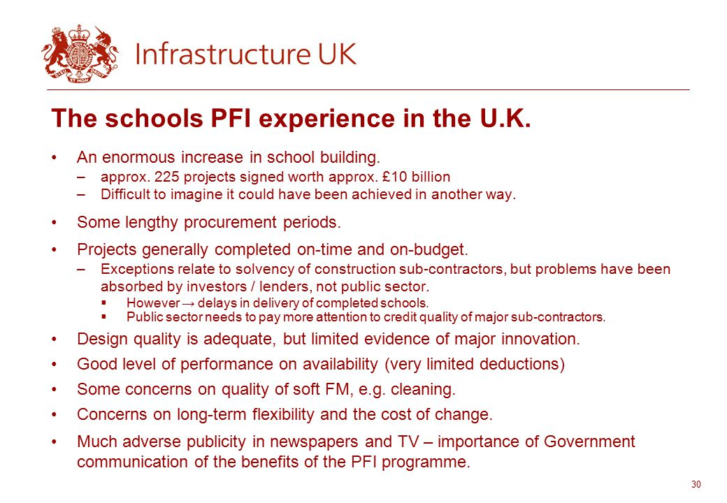 30 The schools PFI experience in the U.K.An enormous increase in school building.