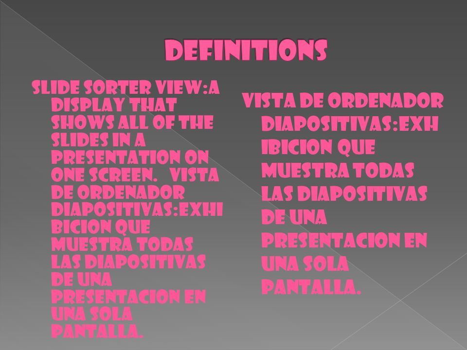SLIDE SORTER VIEW:A DISPLAY THAT SHOWS ALL OF THE SLIDES IN A PRESENTATION ON ONE SCREEN. VISTA DE ORDENADOR DIAPOSITIVAS:EXHI BICION QUE MUESTRA TODA