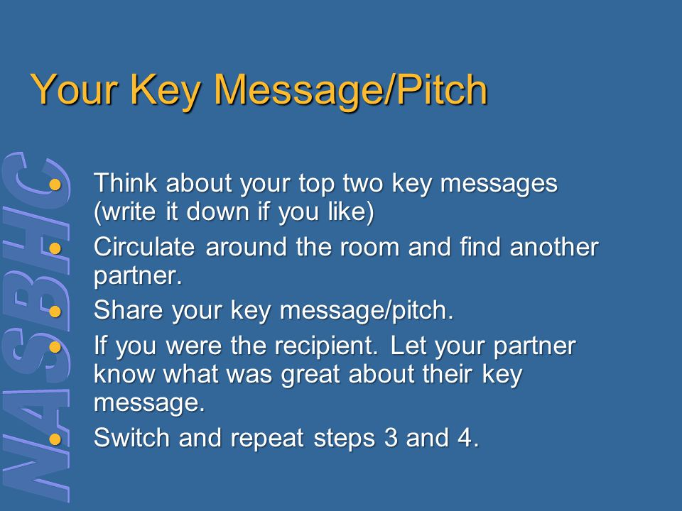 Your Key Message/Pitch Think about your top two key messages (write it down if you like) Think about your top two key messages (write it down if you like) Circulate around the room and find another partner.