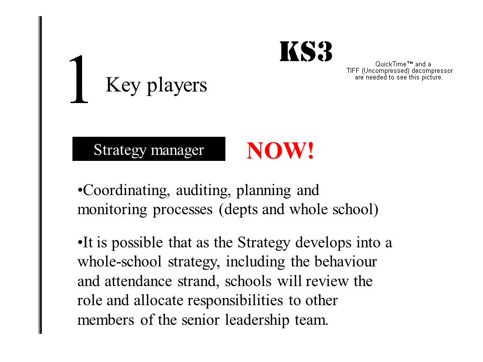 KS3 IMPACT! 1 Key players Strategy manager Working party Headteacher Governors Teaching assistants Subject leaders Students!