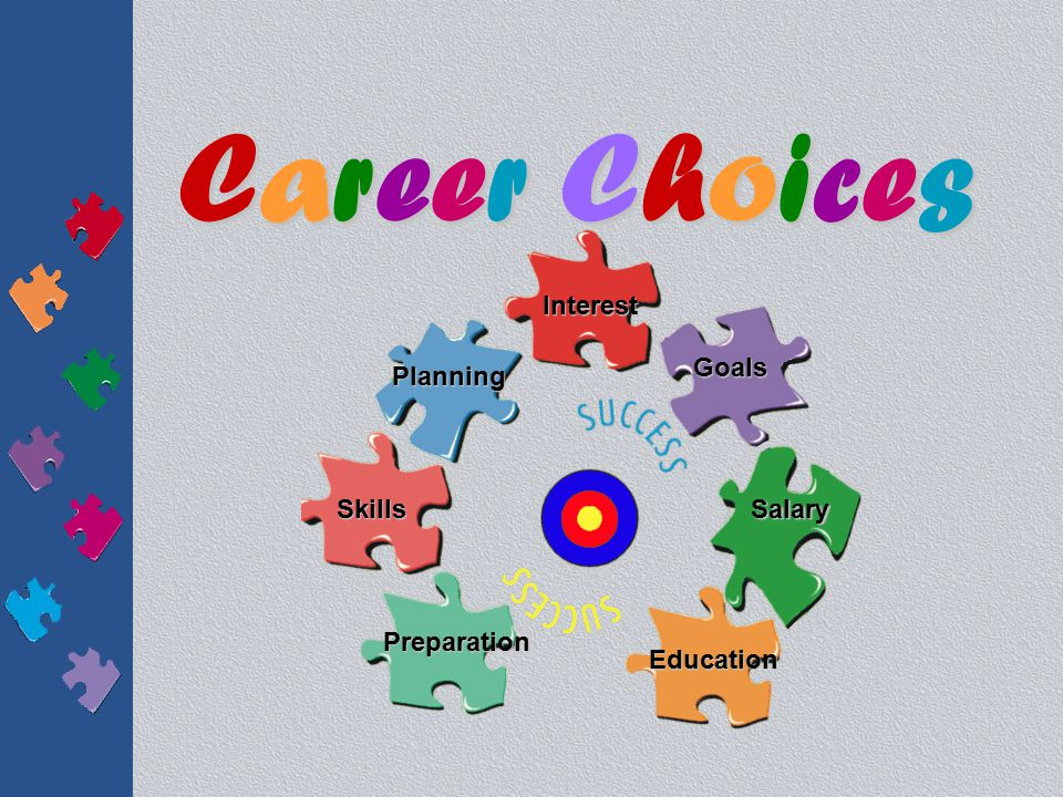 Career ChoicesCareer ChoicesCareer ChoicesCareer Choices Planning Interest Goals Skills Preparation Education Salary