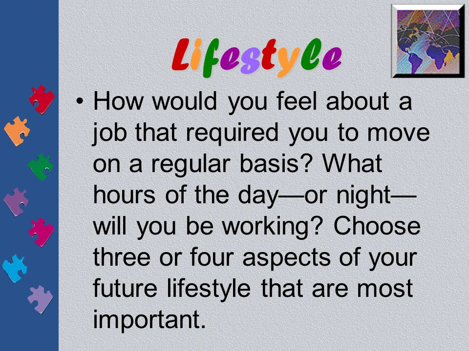 LifestyleLifestyleLifestyleLifestyle In thinking about your future, you must consider what s important to you in your daily life.