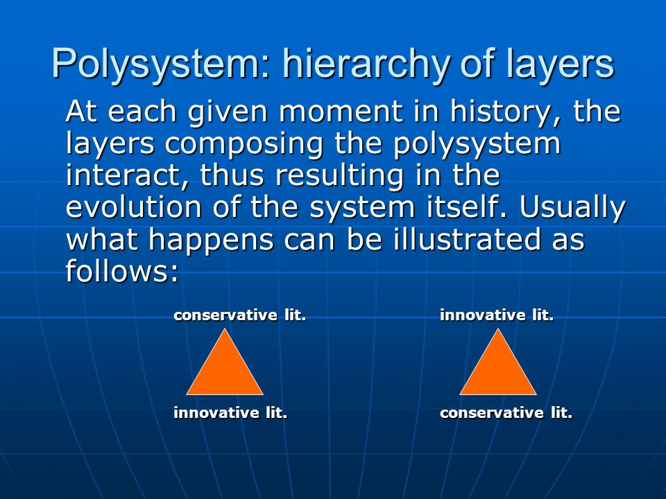 Polysystem: hierarchy of layers At each given moment in history, the layers composing the polysystem interact, thus resulting in the evolution of the system itself.