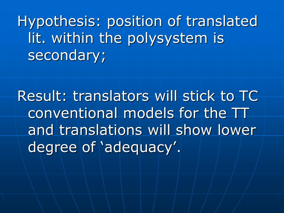 Hypothesis: position of translated lit.