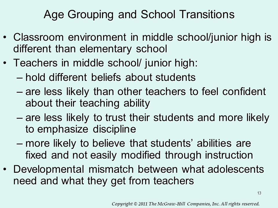 Copyright © 2011 The McGraw-Hill Companies, Inc. All rights reserved. 13 Age Grouping and School Transitions Classroom environment in middle school/ju