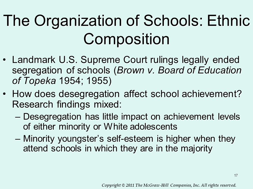 Copyright © 2011 The McGraw-Hill Companies, Inc. All rights reserved. 17 The Organization of Schools: Ethnic Composition Landmark U.S. Supreme Court r