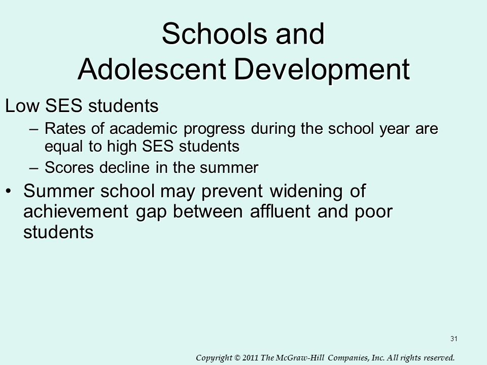 Copyright © 2011 The McGraw-Hill Companies, Inc. All rights reserved. 31 Schools and Adolescent Development Low SES students –Rates of academic progre