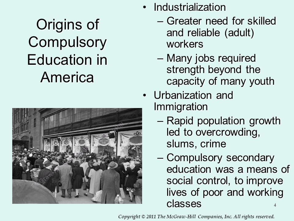 Copyright © 2011 The McGraw-Hill Companies, Inc. All rights reserved. 4 Origins of Compulsory Education in America IndustrializationIndustrialization