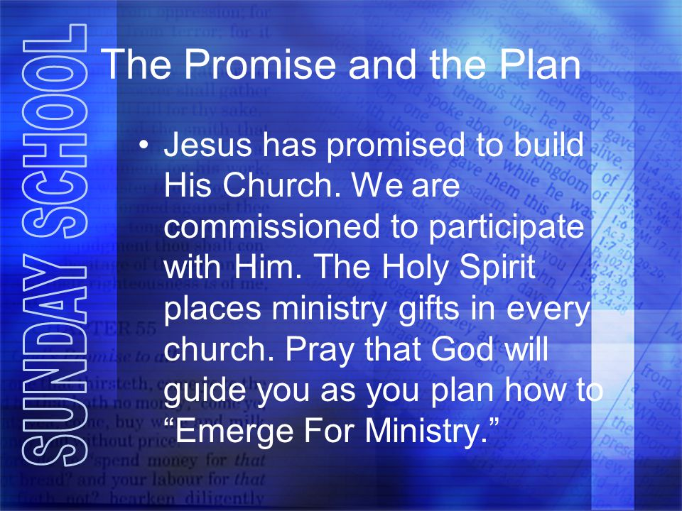 The Promise and the Plan Jesus has promised to build His Church.
